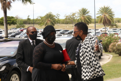 Social Transformation Minister, Samantha Marshall arrives at funeral service