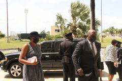 Information Minister, Melford Nicholas arrives at funeral service