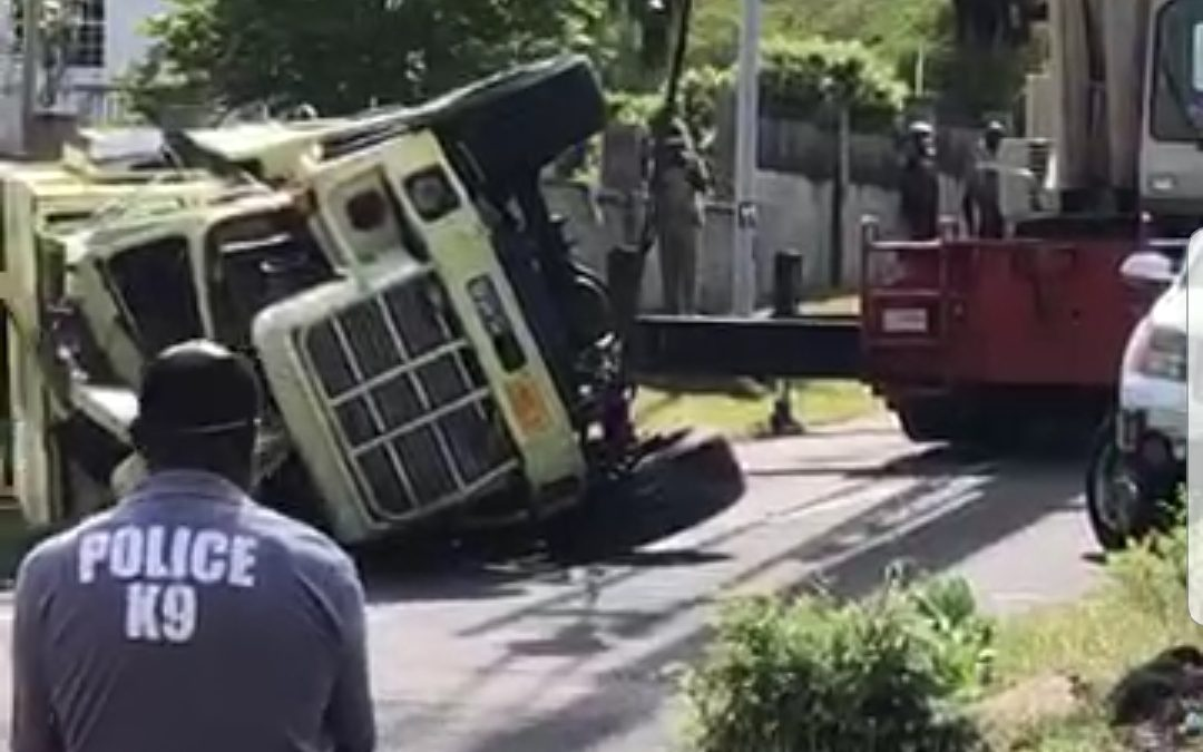 Two firemen taken to hospital after truck overturns