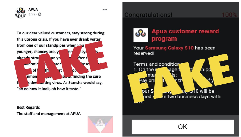 Scammers use APUA branding to trick people