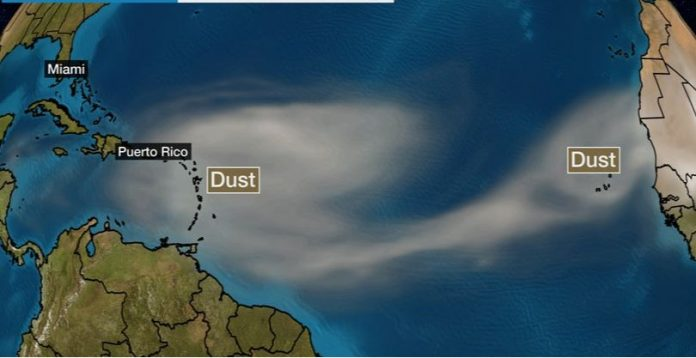 Regional: Saharan Dust from Africa will stretch toward the US, putting the hurricane season on pause