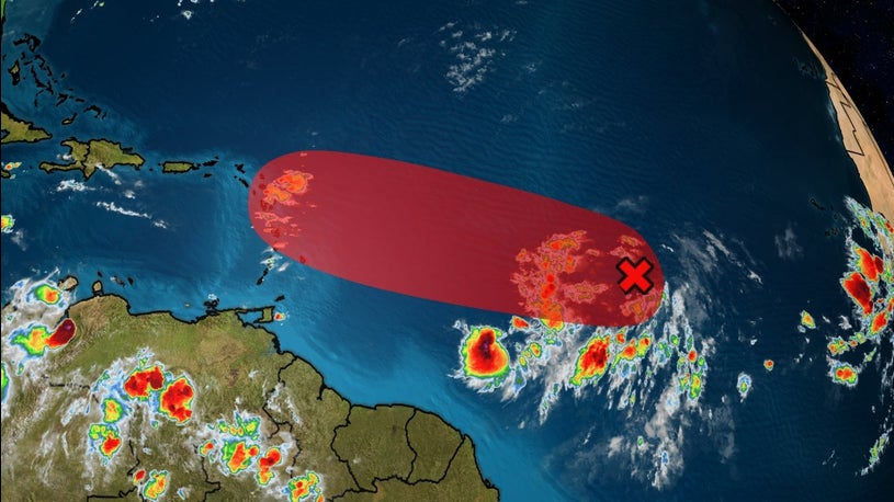 Tropical Disturbance projected to be near Antigua/Barbuda as a tropical storm