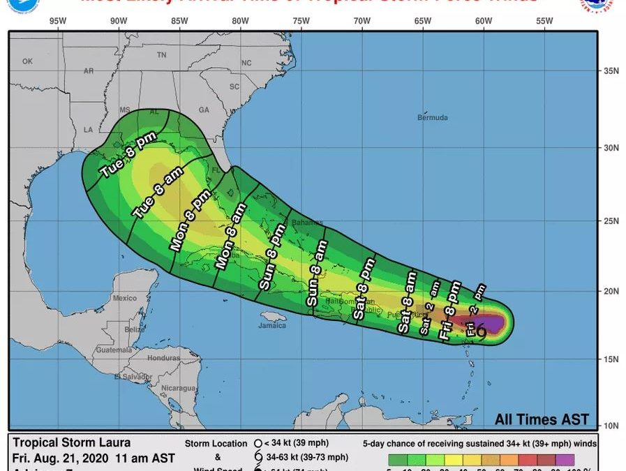 A Tropical Storm Warning for Antigua, Barbuda, St. Kitts, Nevis, Anguilla, and the British Virgin Islands.