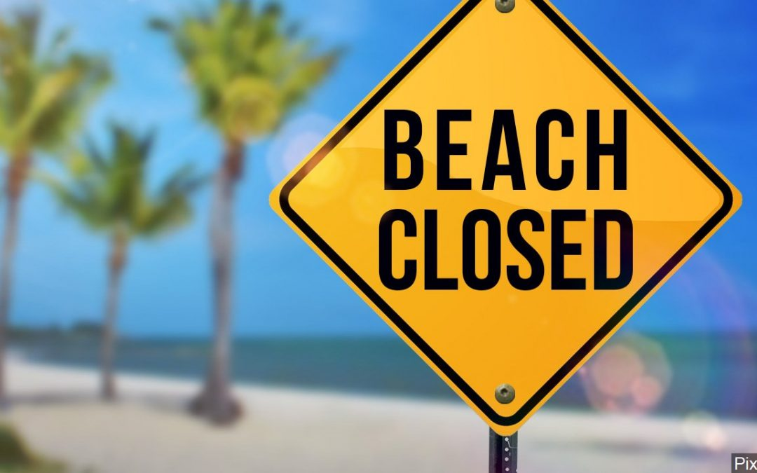 Beaches closed Monday and Tuesday